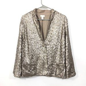 Chico's Sequin Shiny  Golden Metallic Blazer